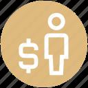 dollar, man, money, sign, user icon