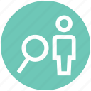 employee, magnifier, search, user, worker icon