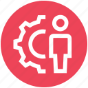 gear, male, person, settings, user, working icon