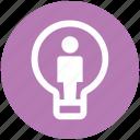 bulb, creative, idea, light, office, user icon