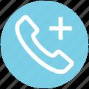 call, communication, contact, landline, phone, plus, telephone icon