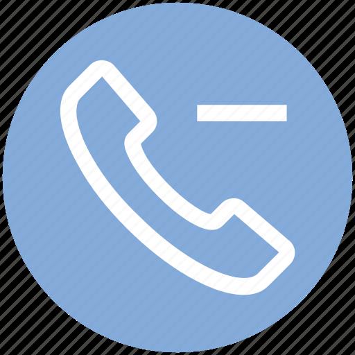 call, communication, contact, landline, minus, phone, telephone icon
