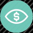 business view, dollar, eye, finance, money, vision icon