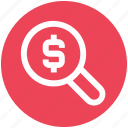 audit, business, dollar, find, magnifier, money, search icon