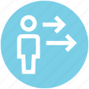 arrows, direction, man, right, user icon