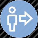 arrow, direction, man, next, right, user icon