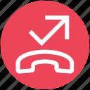 arrow, call, communication, contact, landline, phone, telephone icon