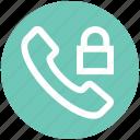 call, communication, contact, landline, lock, phone, telephone icon