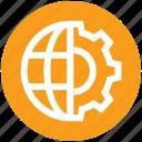 cogwheel, gear, globe, internet, setting, world icon