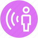 connected, network, signal, user, wifi, wifi user, wireless internet icon