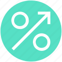 arrow, discount, interest, percent, percentage, sales, sign icon