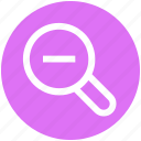 find, glass, magnifier, minus, out, searching, zoom icon