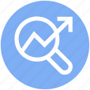 find, glass, graph, magnifier, searching, up arrow, zoom icon