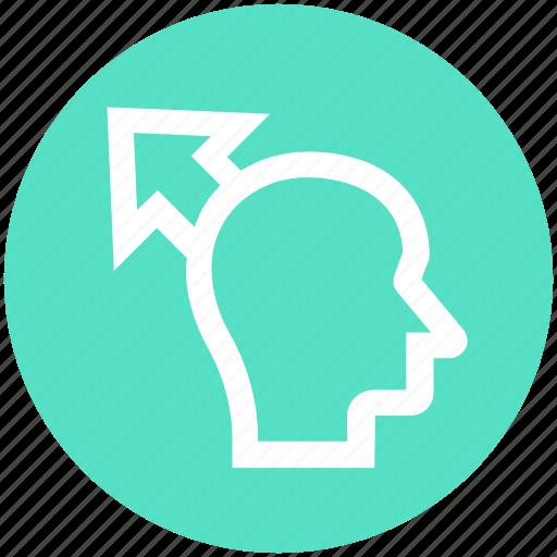 arrow, head, human head, mind, thinking, up arrow icon