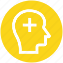 add, head, human head, mind, plus, silhouette, thinking icon