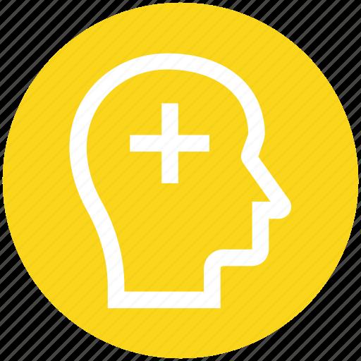 add, head, human head, mind, plus, silhouette, thinking icon