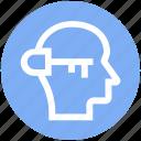head, human head, key, lock, mind, silhouette, thinking icon