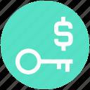 dollar, finance, key, lock, money, protect, secure icon