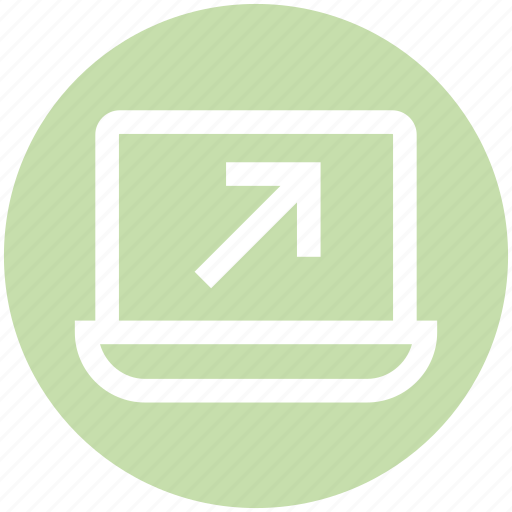 arrow, click, education, laptop, online, point icon
