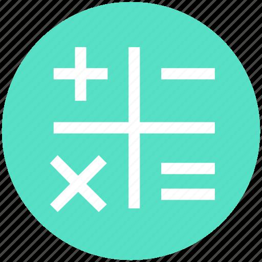 calculation, math, mathematics, maths, sign, symbols icon