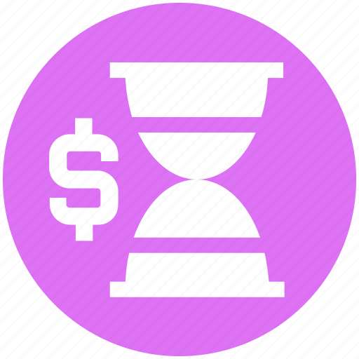 dollar, hourglass, tax reminder, time importance, time is money, timer, wait icon