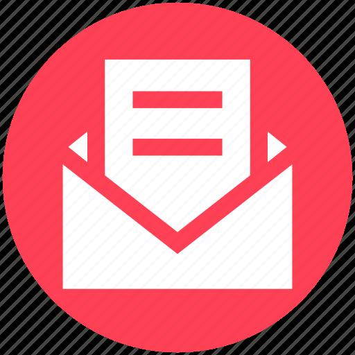 envelope, letter, mail, open envelope, paper, post, read icon