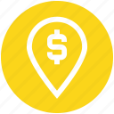 business, dollar, finance, gps, location, map, marketing icon