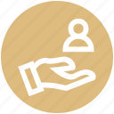 account, aid, employee, hand, person, support, user icon