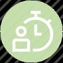 clock, countdown, deadline, person, stopwatch, timer, user icon