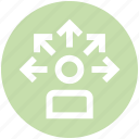 affiliate, arrows, businessman, direction, possibility, user, user network icon