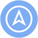 compass, direction, location, map, navigation, pointer, up arrow icon