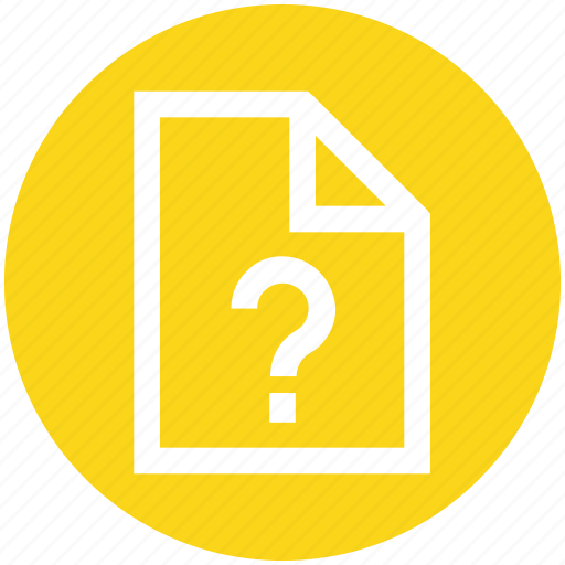 document, file, note, office, page, paper, question mark icon