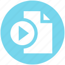 document, file, media play, multimedia, music, page, paper icon