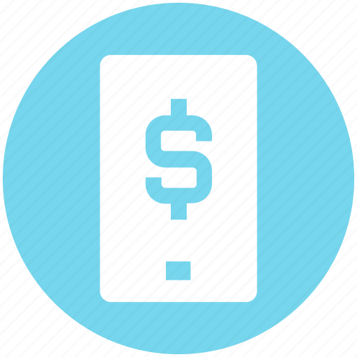 business, cell, dollar, mobile, phone, sign, smartphone icon