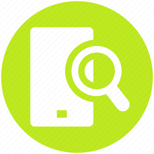 find, magnifier, mobile, phone, search, seo, smartphone icon