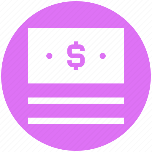 bill, cash, dollar, dollar notes, money, notes, payment icon