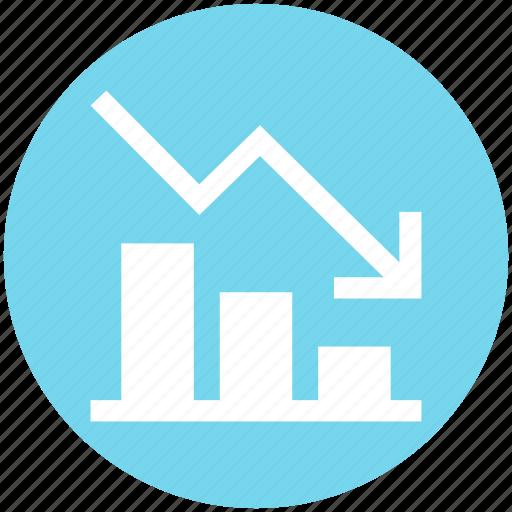 analytics, arrow, bar, chart, down, graph, stats icon