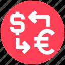 dollar, euro, exchange, finance, money, sharing, transfer icon