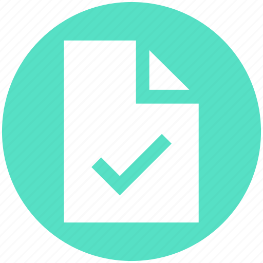 access, blank, document, file, page, paper, tick icon