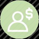 dollar, employee, human, money, people, person, user icon