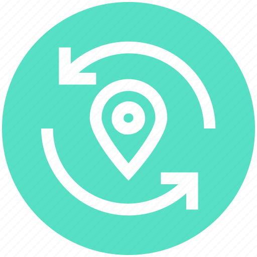 location, map, navigation, pin, point, refresh, sync icon