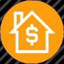 dollar, home, house, hut, money, property, property value icon