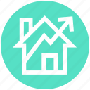 arrow, graph, growth, home, house, profit icon