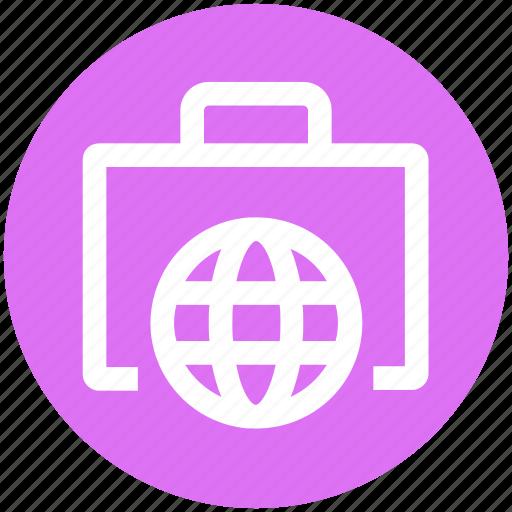 bag, browser, business, ecommerce, globe, portfolio, world icon