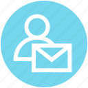 email, envelope, letter, mail, message, person, user icon