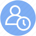 action, clock, male, man, people, time, user icon