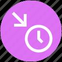 alarm, arrow, clock, down, down arrow, time, watch icon