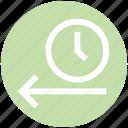 alarm, arrow, clock, left, left arrow, time, watch icon