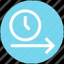 alarm, arrow, clock, right, right arrow, time, watch