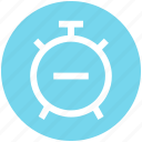 alarm, alarm clock, clock, minus, time icon